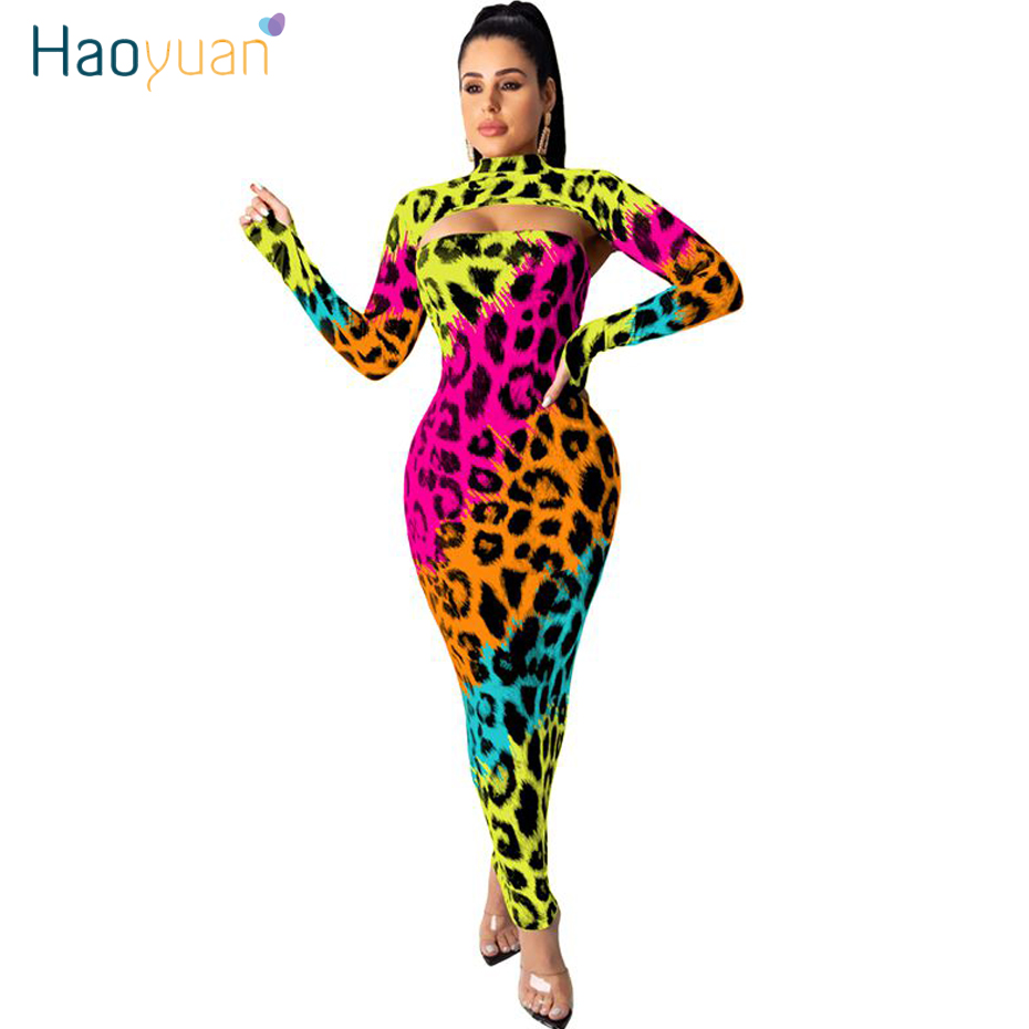 HAOYUAN Sexy Camo Leopard Two Piece Set Women Fall Rave Festival Clothing Crop Top And Maxi Dress 2 Piece Birthday Club Outfits