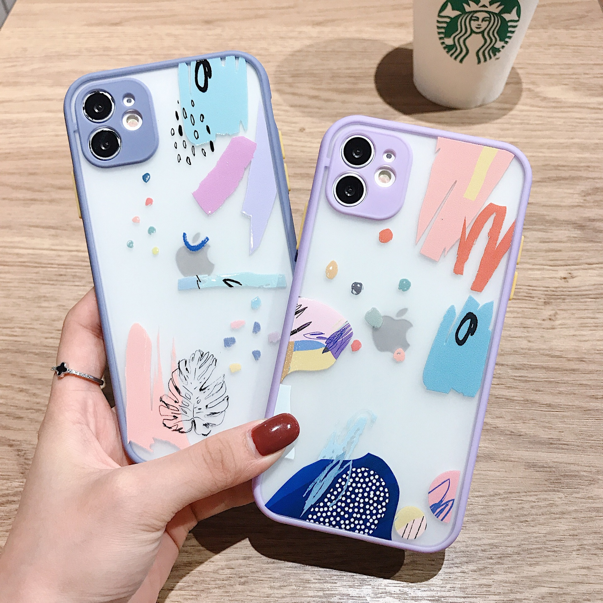 Luxury Colorful Graffiti Pattern Case For iPhone 12 11 Pro Max 8 7 Plus X XS Max XR SE2020 Soft Bumper Matte Phone Cover Coque
