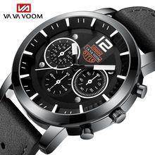 Мужские спортивные кварцевые часы на кожаном ремешке с большим
