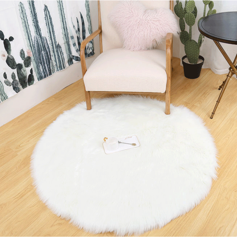 SOLEDI Round Beautiful Hairy Carpet Artificial Bed Home Decoration Soft Artificial Sheepskin Rug Living Room Bedroom Chairs