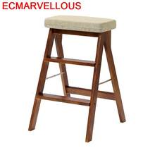 Small Kitchen Tangga Lipat Echelle Pliante Marchepied Pliant Folding Dobravel Wood Stepladder Chair Stool Escabeau Step Ladder(China)