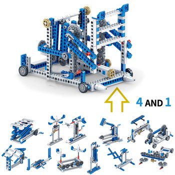 354+pcs 4in1 Building Block Inventor Engineering Truck Building Blocks Technic Construction set DIY Brick Toys For children new sembo block engineering city construction container truck fit technic building blocks toys bricks toys for children kid gift