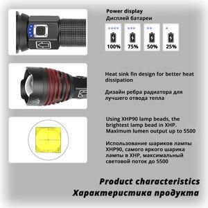Image 3 - De helderste XHP90 LED Zaklamp Tactische waterdichte Torch 3 Verlichting modes Zoomable Jacht camping lampen Door 18650 of 26650