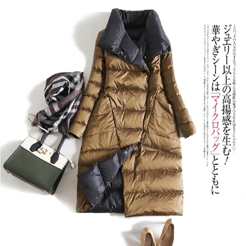 Winter Down Jacket Women 90% White Down Coat Female Long Warm Both Side Snow Outwear Over Knee Parka Coat Jackets LWL1161