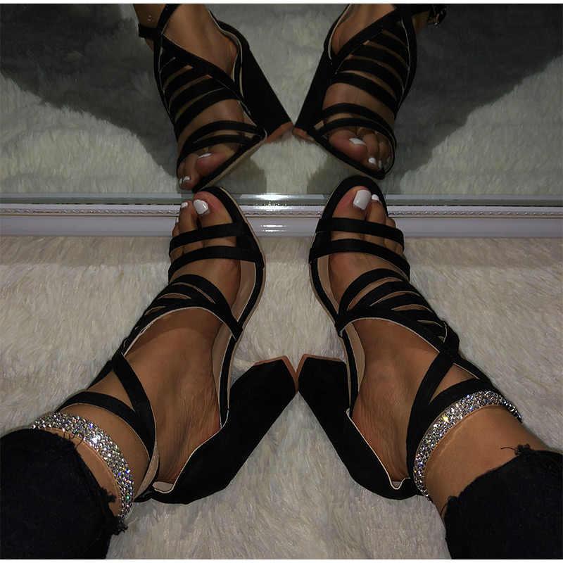 MCCKLE 2020 kadınlar yüksek topuklu sandalet yaz bayan ayak bileği toka kayış kadın çapraz kayış ayakkabı bayan parti kadın ayakkabısı artı boyutu