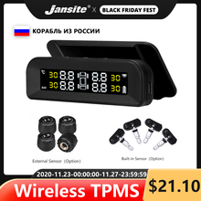Jansite TPMS 기존 무선 HD 솔라 카 타이어 압력 알람 모니터 시스템 디스플레이 4 센서로 진동 켜기