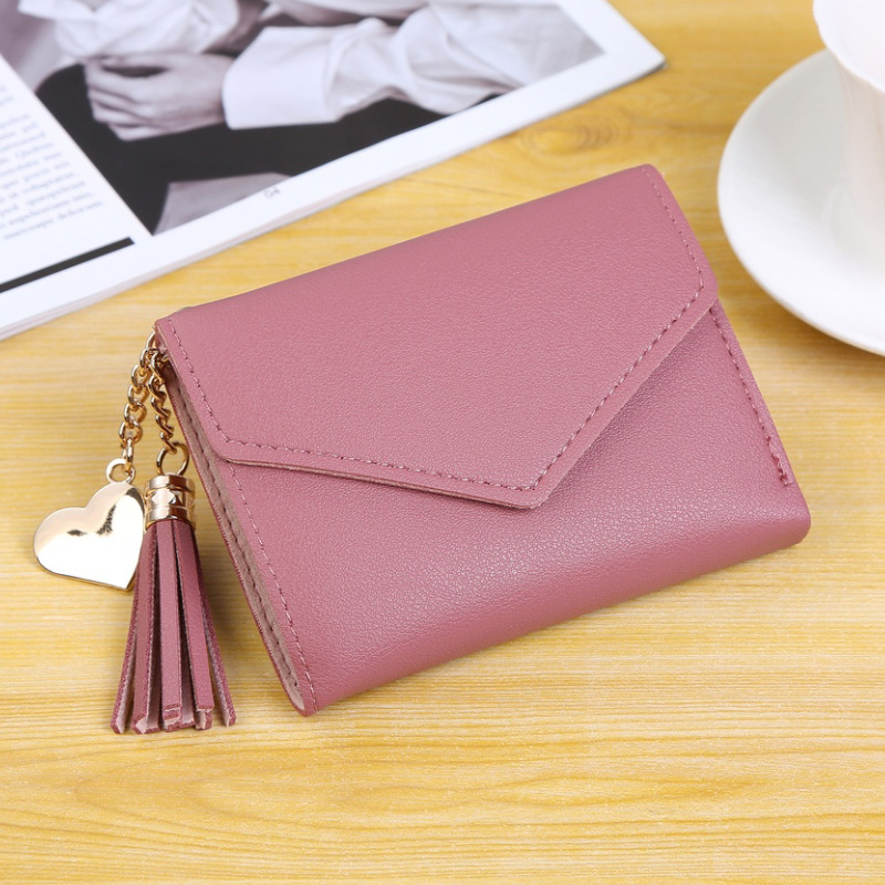 Multi-functional women's short tassel purse school style pendant card bag large capacity clasp zero purse solid color image