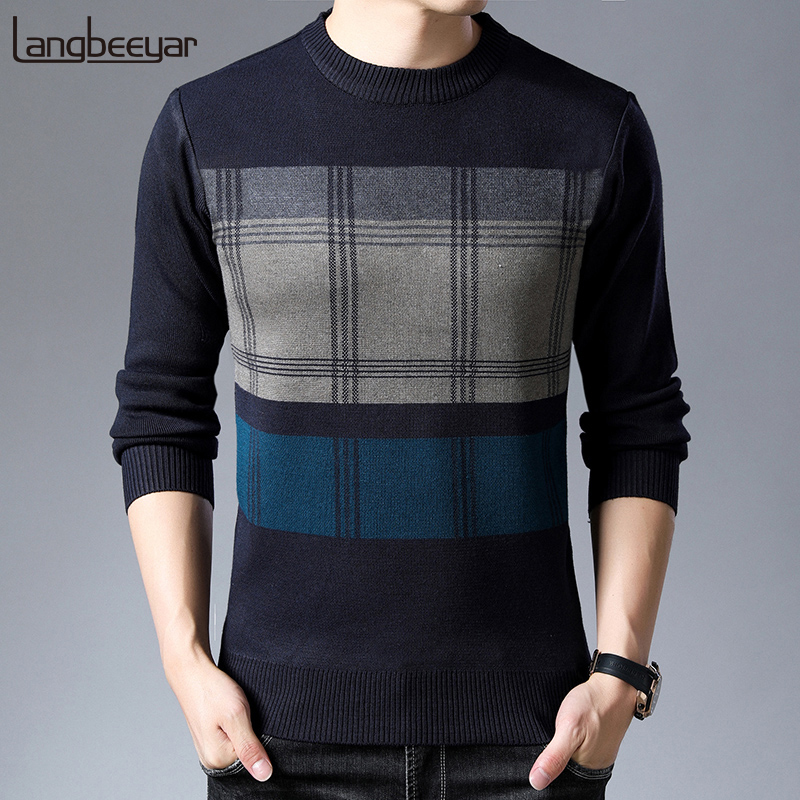 2019 New Fashion Brand Sweater Mens Pullovers Warm Slim Fit Jumpers Knit Woolen Autumn Korean Style Casual Men Clothes