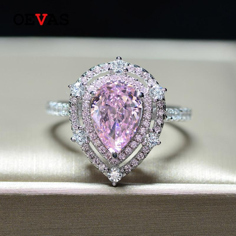 OEVAS Luxury 100% 925 Sterling Silver Pear Pink Sapphire Gemstone Wedding Engagement Diamonds Ring Fine Jewelry Gift Wholesale