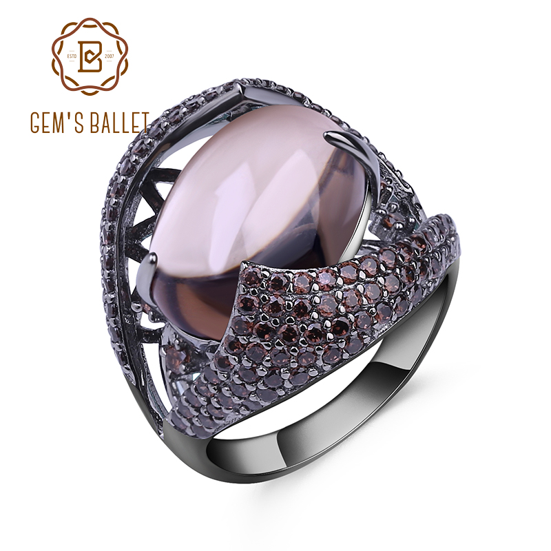GEM'S BALLET Natural Smoky Quartz Gemstone Cocktail Ring 925 Sterling Sliver Vintage Gothic Rings For Women Gift Party Jewelry