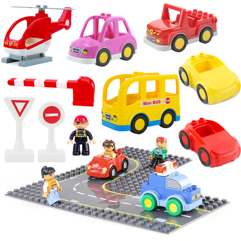 Big Size City Road Street Particle Base Plate Straight Curve Baseplate Board Building Blocks Sets Duplos Bricks Educational Toys