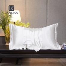 Lanlika Luxury 100% Silk Noble White Beauty Pillowcase Healthy Bed Pillow Case Healthy Pillow Cover Home Textile Free Shipping