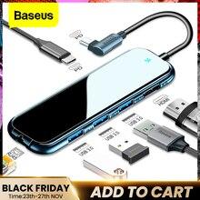 Baseus USB tipi C HUB HDMI RJ45 Lan çok USB 3.0 PD adaptörü USB C HUB MacBook Pro hava için dock USBC tipi c HUB Splitter Hab