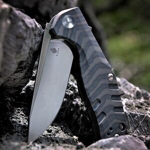 Image 4 - Kizer Bushcraft סכין הישרדות CPM S35VN להב 6AL4V טיטניום ידית באיכות גבוהה חיצוני כיס סכין כלי Ki4461A1 Kesmec