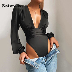 Fashioncyes Sexy V Neck Bodysuit Women One Piece Body Femme Party Solid Bodysuit Long Sleeve Bodycon Satin Casual Autumn Mujer