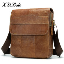 X.D.BOLO Messenger Bag Men's Shoulder Genuine Leather Bags Flap Small Male Bag Man Crossbody Bags for Men Natural Leather Bag(China)