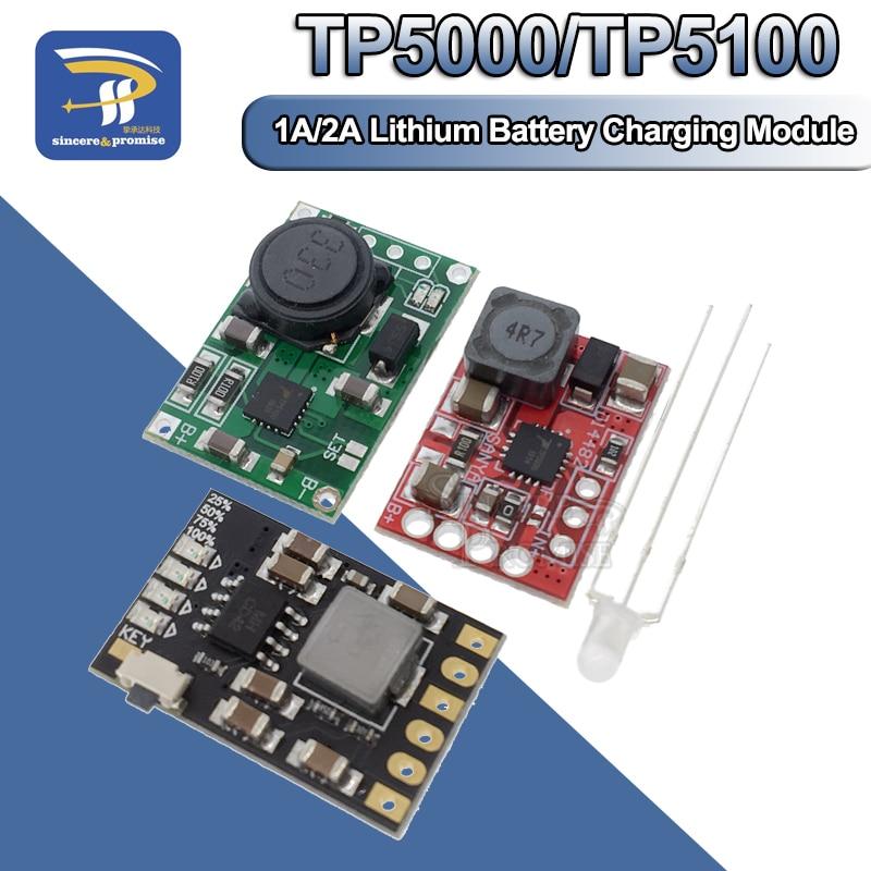 Плата модуля управления зарядным устройством TP5100, TP5000, 1A, 2A, совместима с 4,2 в, 8,4 в, одиночными и двойными литиевыми батареями