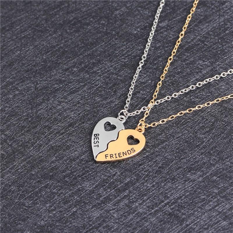 Подвеска, лучшие друзья, ожерелье из 2 частей в форме сердца дружбы половина головоломка, ювелирное изделие для девочек ожерелья и кулоны ко...
