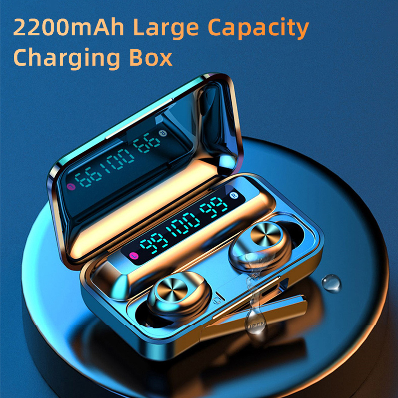 Bluetooth V5.0 Earphones Wireless Headphones With Microphone Sports Waterproof Headsets 2200mAh Charging Box For iPhone Android title=