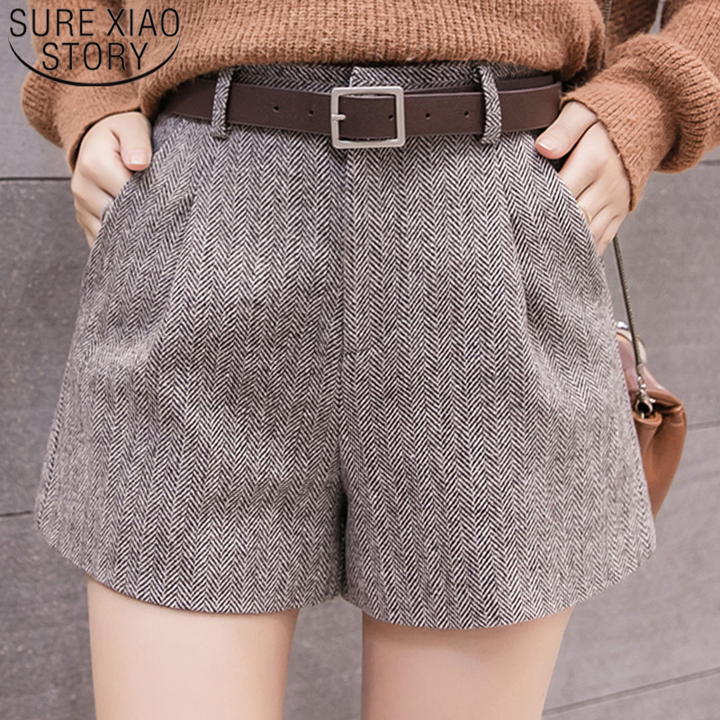 2019 New Fashion Women   Shorts   Casual Women Clothing Autumn and Winter High Waist   Shorts   Sashes Pockets Wide Leg   Shorts   5636 50