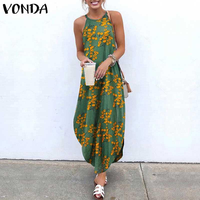 Women Summer Sundress VONDA Bohemian Floral Printed Long Dress Elegant Sleeveless Loose Party Vestidos Halter Dresses Robe S-5XL