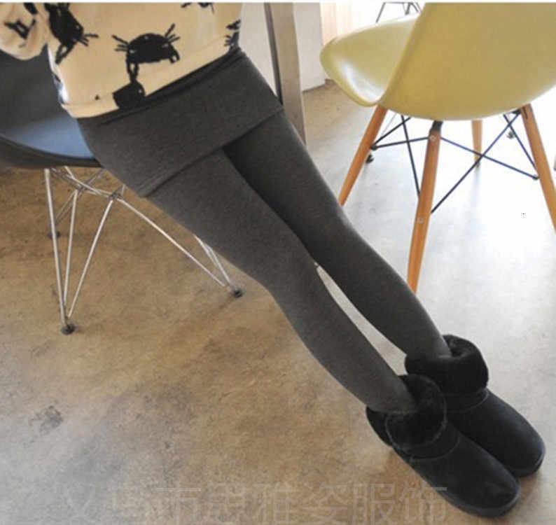 Vrouwen Herfst Winter Warm Verdikking Fluwelen Broek Dames Billen Fake Twee Stukken Leggings Geplooide Warme Slanke Rok Skinny Broek