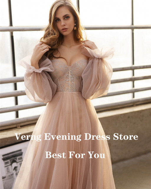Verngo Dusty Pink Long Prom Dresses 2021 Off the Shoulder Sweetheart Tulle Romantic Elegant Princess Prom Party Gown Custom 2