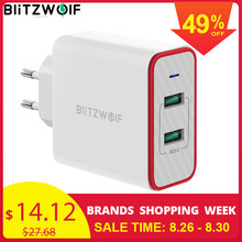 BlitzWolf 36W USB Quick Charger EU Plug Dual Ports Adapter Wall Charger for Xiaomi roidmi 2s S9 for iPhone 8 for Huawei P10 P20(China)
