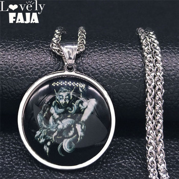 2021 Lock Sigil of AIM Glass Stainless Steel Necklace Women/Men Satan Necklace Lesser Key DEMON SEAL Goetia Jewelry NJ49S03 image
