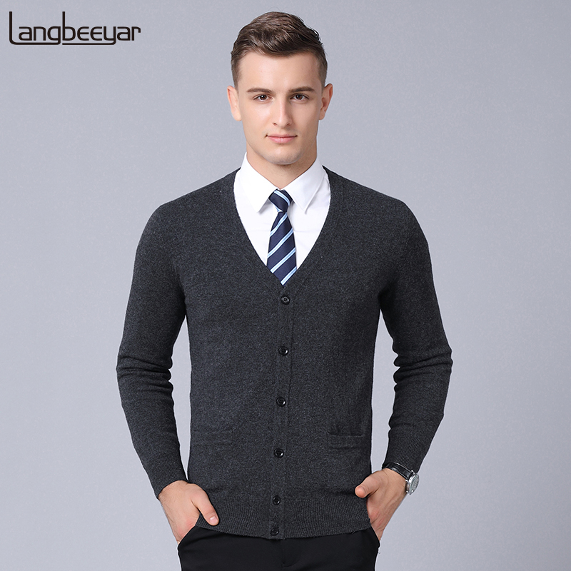 100% Wool New Fashion Brand Sweater Men Cardigan Slim Fit Jumpers Knitwear Winter Korean Style Solid Color Casual Mens Clothes