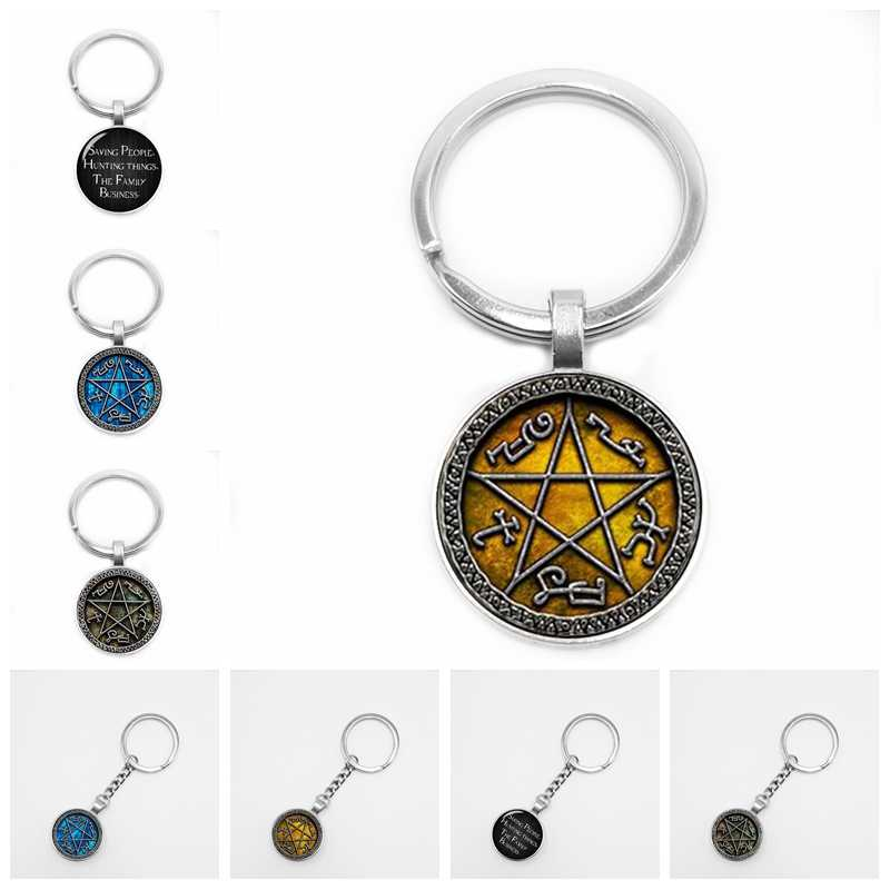 2019/New Hot Supernatural Key Ring To Save People Hunting Family Business Dean Winchester Sam Glass Dome Keychain
