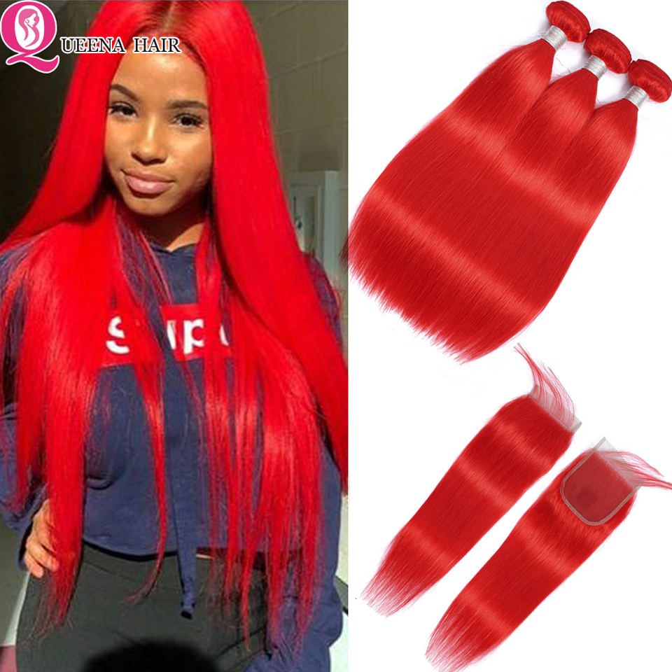 Queena Red Bundles With Closure Pre Colored Straight Bundles With Closure Brazilian Human Hair Weave Bundles With Closure Remy