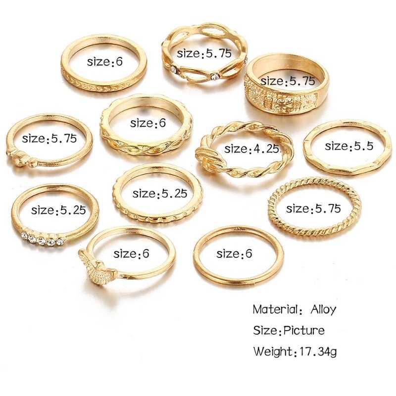 12 pçs/set Charme Cor de Ouro Midi Conjunto Anel de Dedo para As Mulheres Boho Vintage Knuckle Anéis Partido Do Punk Para As Mulheres de Jóias presente