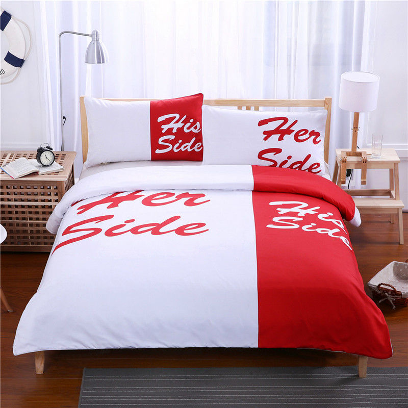 New Black Blue Red His Side & Her Side Bedding Set 3pcs Soft Couple Duvet Cover with <font><b>Pillowcases</b></font> Sets Home Bedclothes Textile image