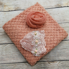 Clearance 150*100cm Thin Fabric Backdrop Blanket+60*40cm Mohair Knit wrap+Handcraft Vintage Gril Lace Hat for Newborn Shooting