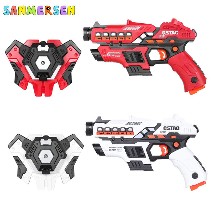 NEW Electric Infrared Laser Tag Toy Guns Blaster Laser Battle Pistola Kit Indoor Outdoor Family Sports Toys Gift For Kids Boys