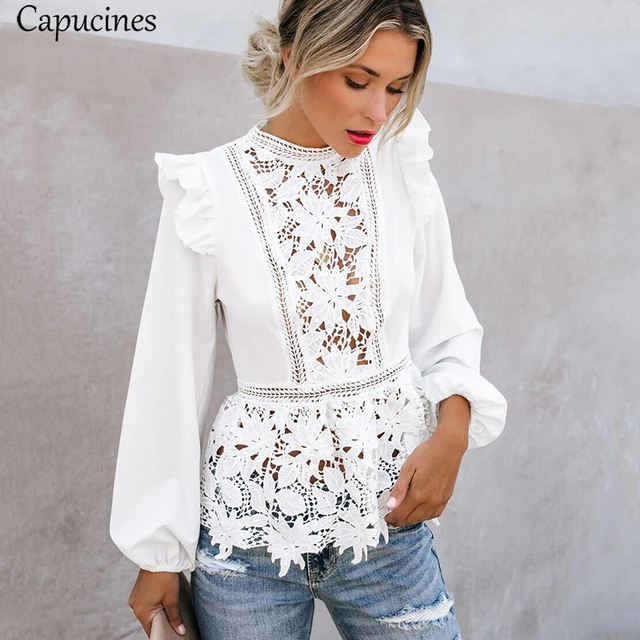 Capucines Lace Splicing Ruffled High Waist White Shirts Blouse Women Hollow Out Embroidery Keyhole Back Elegant Summer Chic Tops
