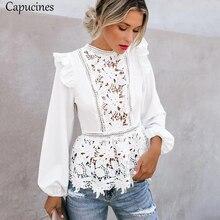 Capucines 레이스 splicing 높은 허리 화이트 셔츠 블라우스 여자 중공 자 수 keyhole 다시 우아한 여름 세련 된 탑스