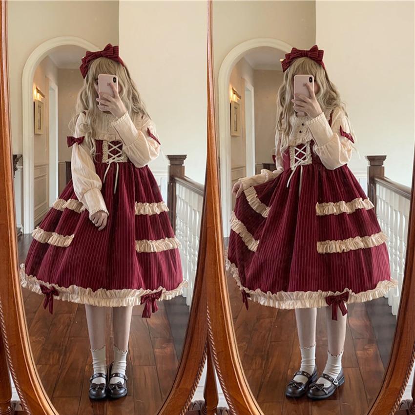 Lolita robe douce bouffée poupée mignon Kawaii filles OP taille haute princesse Vintage dentelle automne et hiver robe quotidienne Costume de Cosplay