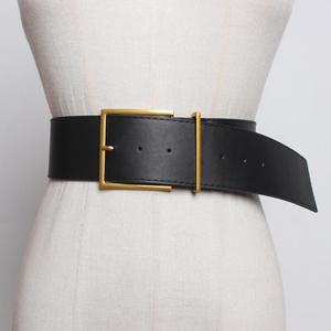 Women Wide Waist Belt Vintage Big pin Buckle Black belts for jeans brown PU faux leather strap belt HOT Ladies Dress waistbands
