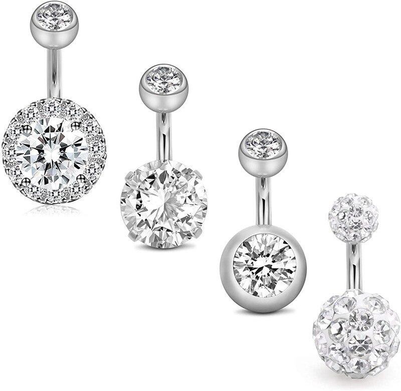 4 pçs anéis de botão da barriga 6mm aço inoxidável 14g cz umbigo anéis barbells studs feminino meninas corpo piercing jóias