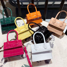 Solid Color Mini Small Square Bag Crocodile Pattern PU Leather Handbag Postmen Top-Handle Bags For Women Ladies Fashion Purse(China)