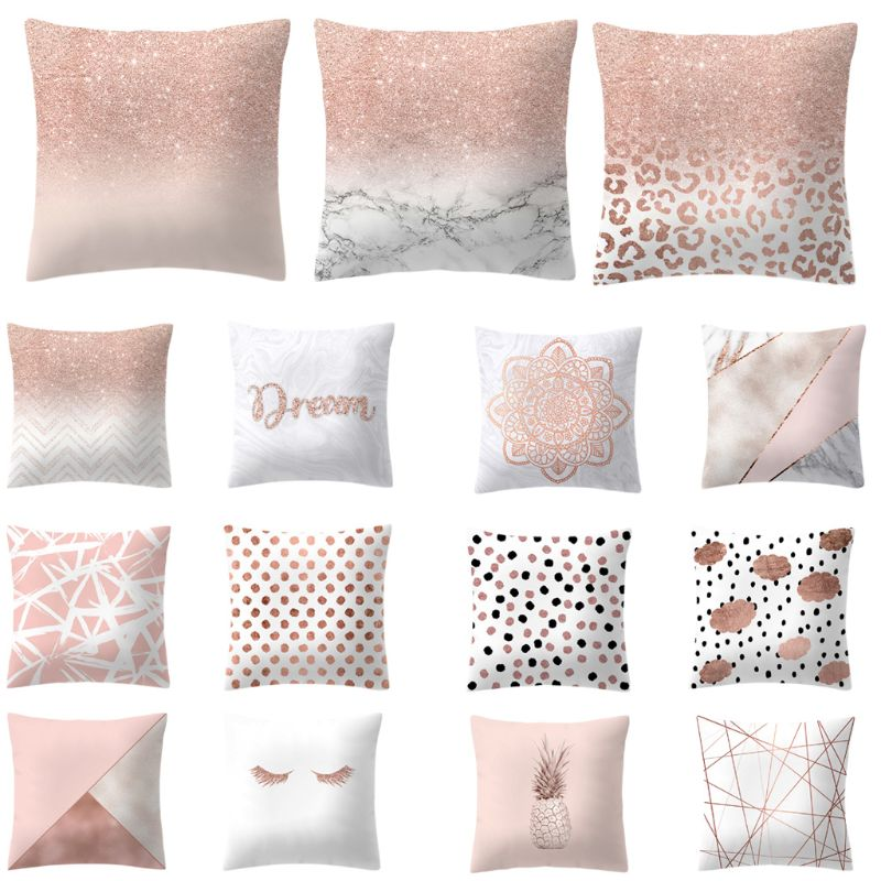 45X45CM Throw Pillow Cases New Pink Gold Home Decorative Cushion Cover Tropic Pineapple Geometric Nordic Polyester PillowCase