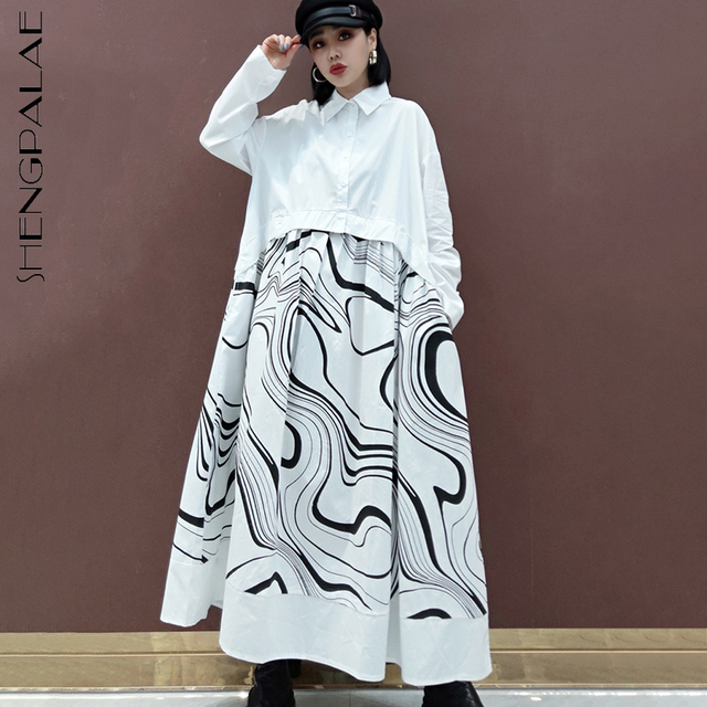 SHENGPLLAE Personality Printed Dress Women's Spring 2021 New Lapel Single Breasted Large Size Patchwork Fake Two Piece Dresses 1