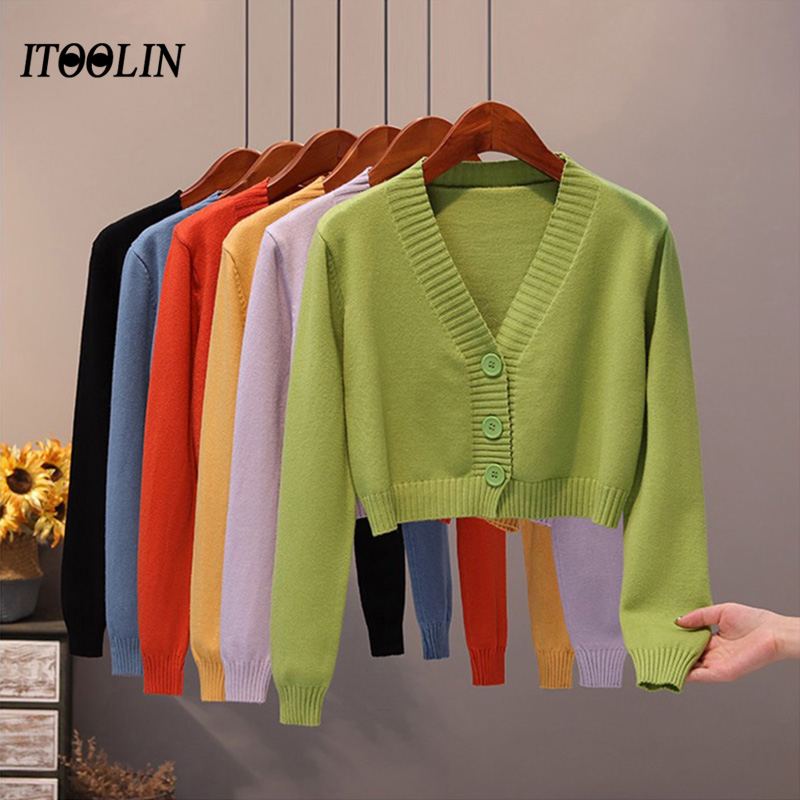 ITOOLIN Spring Cardigan For Women Knitted Sweater V neck Long Sleeve Crop Tops Female Button Up Cardigans Cropped Women Clothing