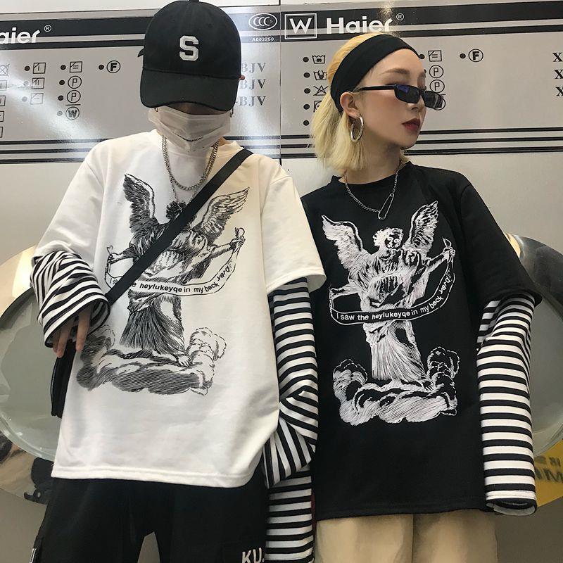 Vintage Shirts Women Female Streetwear Sweatshirt Women Kpop Clothes Harajuku Shirt Fake 2 Pieces Long Sleeve T Shirt Stripe Top