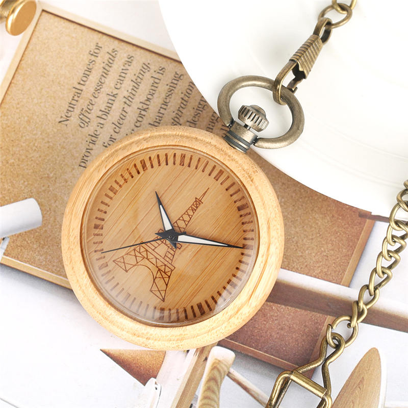 Paris Tower Bamboo Pocket Watch Eiffel Tower Wood Fob Watches Open Face Pendant Clock Chain reloj de bolsillo hombre vintage