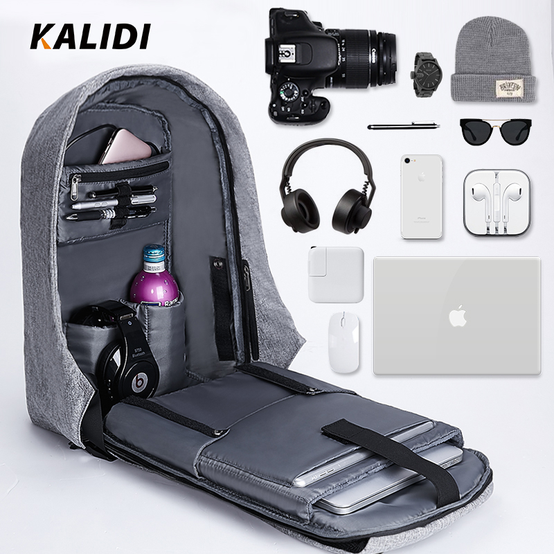 KALIDI  Men Backpacks 15inch Multifunction Laptop Backpack USB Charging School Bag Mochila 17 inch  Travel Backpack Anti theft-in Backpacks from Luggage & Bags