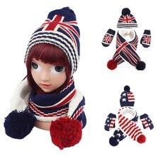 Детский шарф, шапка, перчатки, комплект для мальчиков и девочек, унисекс, модная детская бейсболка с флагом, вязаные шапочки с помпоном, теплая верхняя одежда для детей 1-6 лет, новинка зимы