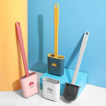 Wall-mounted Silicone TPR Toilet Brush And Holder Quick Drain Cleaning Brush Tools For Toilet Household WC Bathroom Sets Cleaner